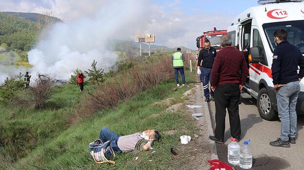 Son dakika... Anadolu Otoyolu'ndan feci kaza! Araçları yanan çift ölümden döndü