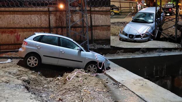 Metro şantiyesinde betona çarpan otomobildeki 2 kişi yaralandı