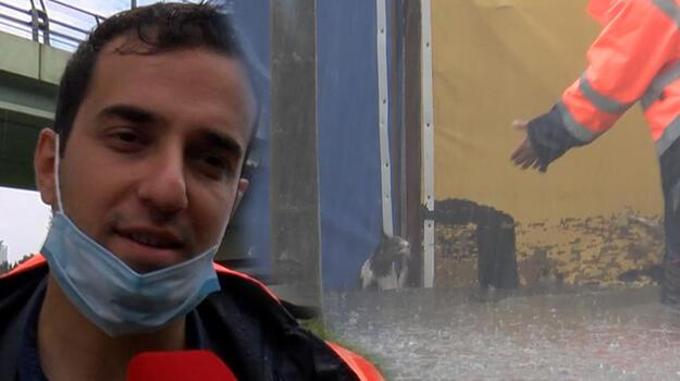 Topkapı'da kediyi sel sularından kurtaran görevli konuştu! İnsani bir görev