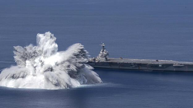 ABD uçak gemisini 18 ton patlayıcıyla test etti