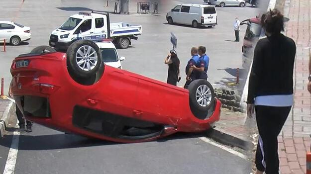 Beylikdüzü'nde direksiyon dersi aldığı otomobille takla attı, kadın sürücü yaralandı
