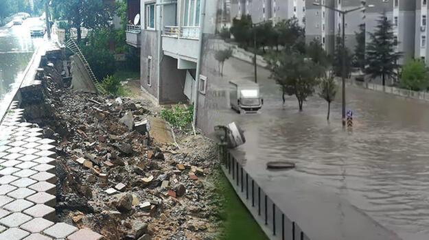 Ankara'da sel felaketi! İstinat duvarı çöktü, bazı evleri su bastı