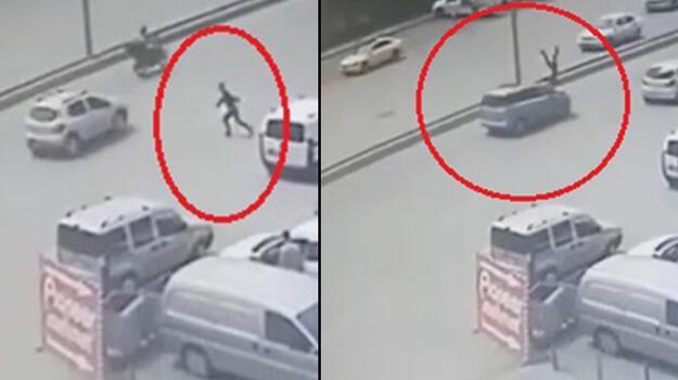 Ankara'da feci olay! Otomobilin çarpmasıyla metrelerce savruldu