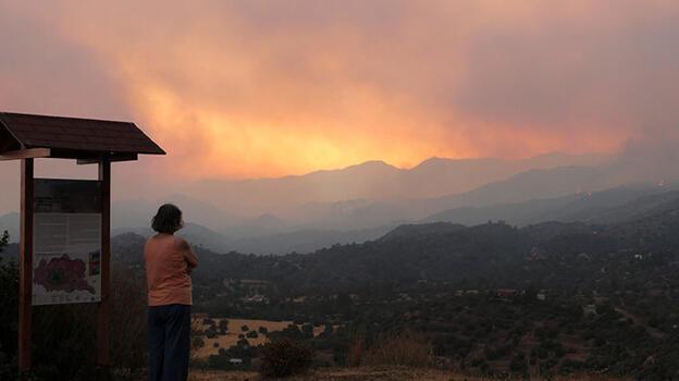 Kıbrıs Rum kesimindeki yangın söndürülemiyor! Cumhurbaşkanı Tatar'dan yardım mesajı