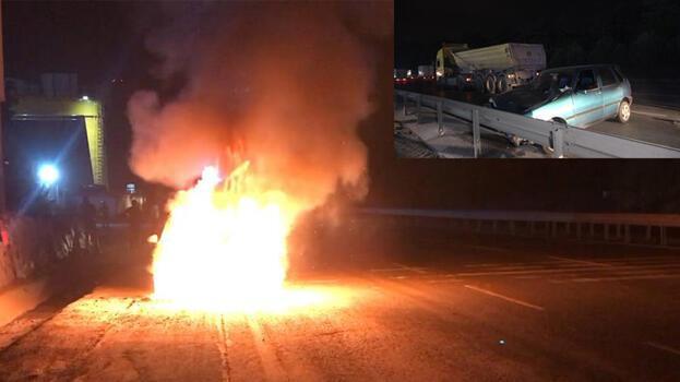 Otomobil yangınını izleyen meraklı sürücü hafriyat kamyonuna çarptı