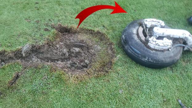 Bu olayda iki mucize oldu: Golf sahasında kocaman bir delik açtı!