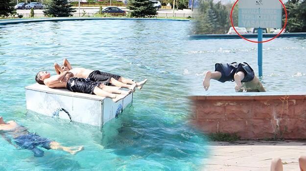 220 voltluk elektrik sisteminin olduğu havuzlarda yüzüyorlar