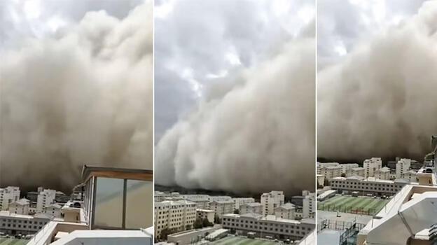 Kum fırtınası kenti yuttu!
