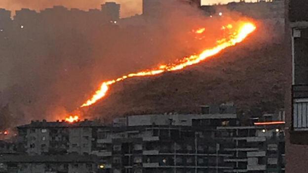 İzmir'de iki ilçede otluk alanda yangın