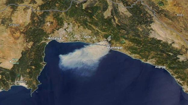 Manavgat'taki yangının uydu fotoğrafı