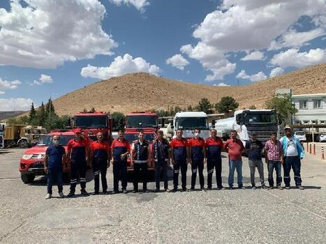 Mardin'den Antalya'ya personel ve araç desteği