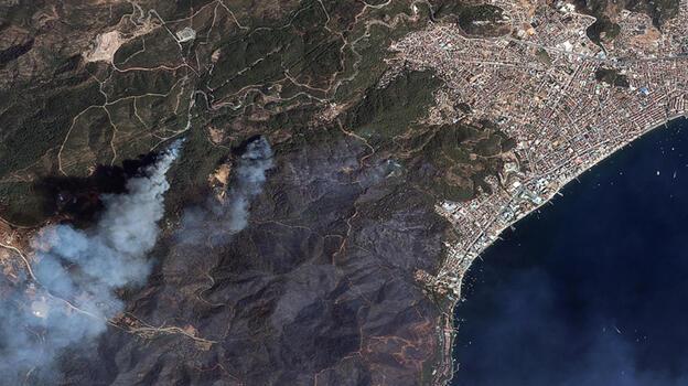 Göktürk uyduları, Manavgat ve Marmaris'teki yangınları uzaydan görüntüledi