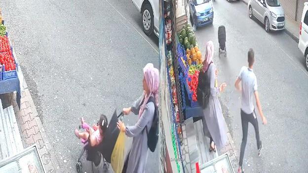 İstanbul'da korkutan anlar! Bebek arabası yokuş aşağı kaydı...