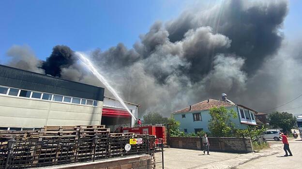 Düzce'de çerez fabrikasında yangın