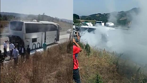 Yer: Düzce! Otobüsün motoru alev aldı, yolcular tahliye edildi