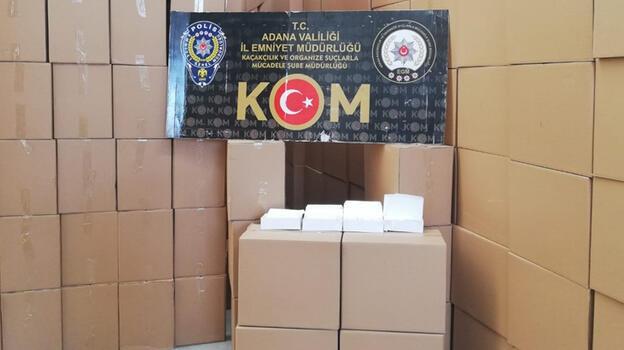 Adana'da 105 milyon 700 bin makaron ele geçirildi