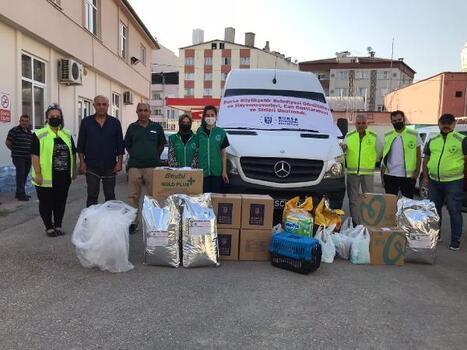 Bursa Büyükşehir Belediyesi'nden yangın bölgesindeki hayvanlar için gıda ve ilaç yardımı