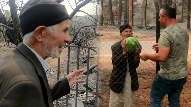 Yanan evinin bahçesindeki karpuzları orman işçilerine ikram etti!