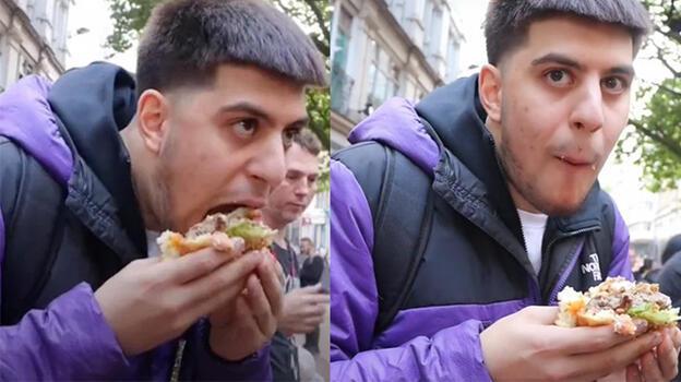 Vegan protestoculara inat 'dünyanın en büyük hamburgerini' yedi