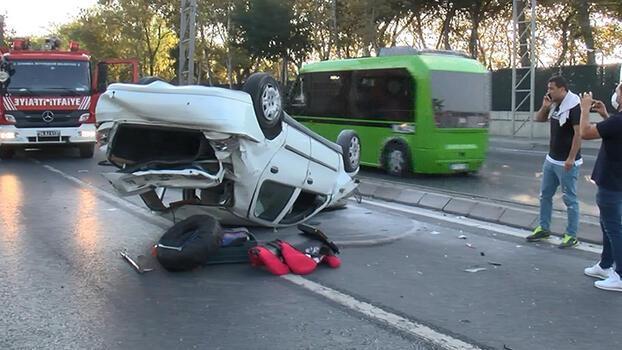 Sarıyer'de makas attığı iddia edilen otomobil takla attı!