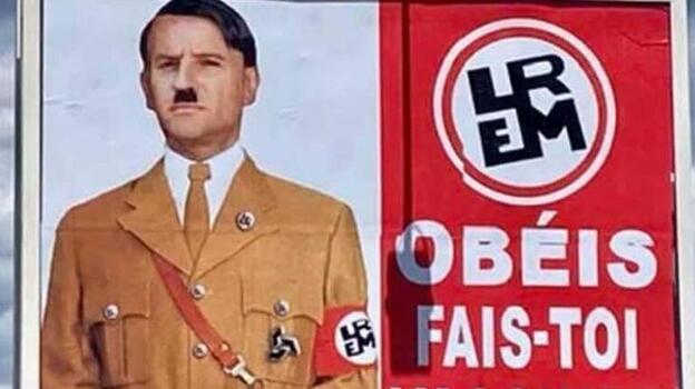 Macron'un Hitler'e benzetildiği afişi asana para cezası