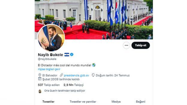 Bukele Twitter profiline 'en havalı diktatör' yazdı