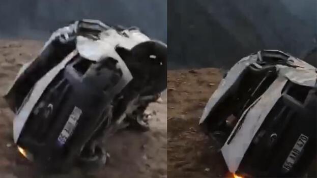 Kontrolden çıkan minibüs uçuruma yuvarlandı: 1 ölü, 1 yaralı