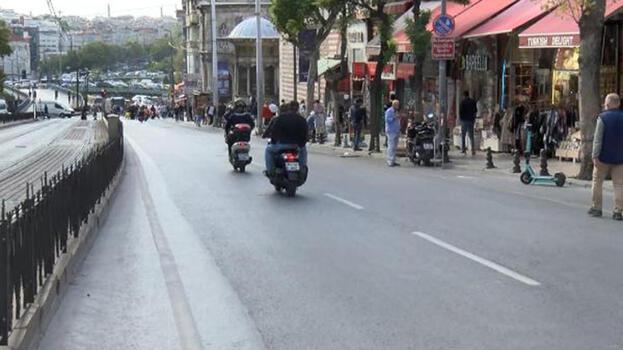Trafiğe kapatılan Ordu Caddesi motosiklet güzergahına döndü