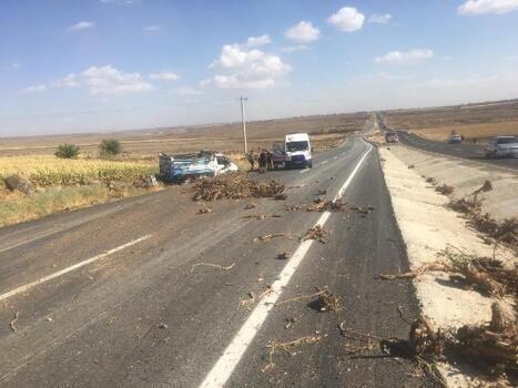 Siverek'te kamyonet şarampole devrildi: 2 yaralı
