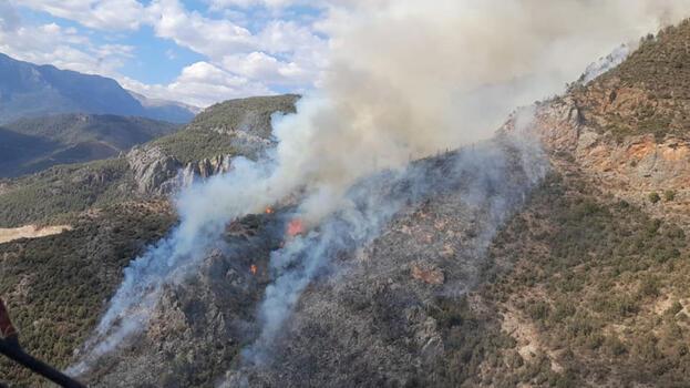 Anamur'da orman yangını! Havadan ve karadan müdahale