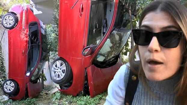 Fren yerine gaza bastı, otomobil bahçeye uçtu!