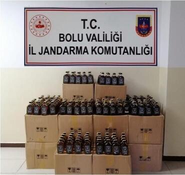 Bolu'da 1400 şişe kaçak içki ele geçirildi