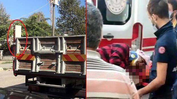 Avcılar'da kamyonun açılan kasa kapağı yayaya çarptı