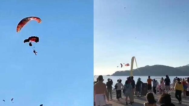 Anbean kaydedildi! 3 yamaç paraşütü pilotu çarpıştı