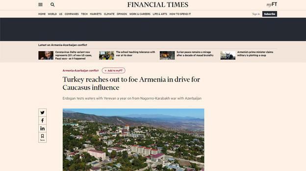 Son dakika... Finacial Times: Türkiye Ermenistan'a el uzatıyor!