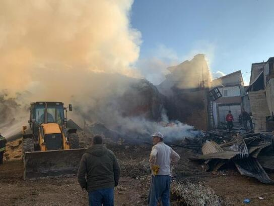 Bayburt'ta, köyde çıkan yangında 7 ev ve 2 ahır yandı