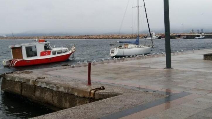 Bandırma'da hava koşulları nedeniyle sahil sokak hayvanlarına kaldı