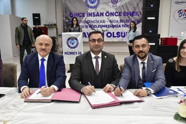 Biga Belediyesi'nde toplu iş sözleşmesi imzalandı