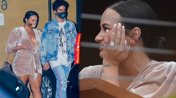 Demi Lovato gazetecilere yüzüğünü gösterdi