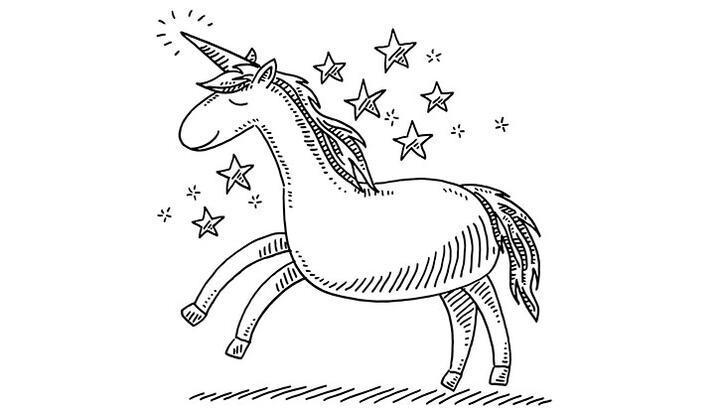Renkli unicorn boyama sayfası