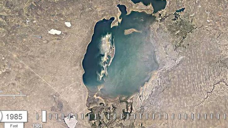 Google Earth ile ortaya çıktı: Aral Gölü'nün 36 yıl içindeki değişimi