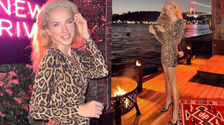 Burcu Esmersoy'un leopar desenli elbisesiyle verdiği pozlara beğeni yağdı