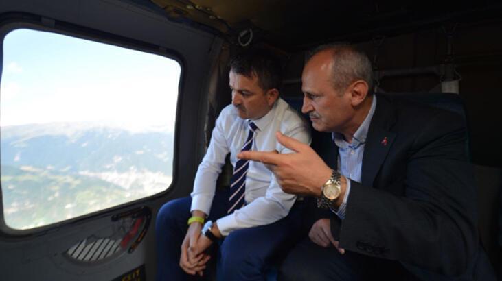 Bakanlar Turhan ve Pakdemirli, Yusufeli Barajı'nı helikopterle havadan inceledi