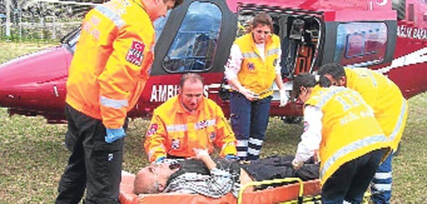 Hava ambulansı yetişti