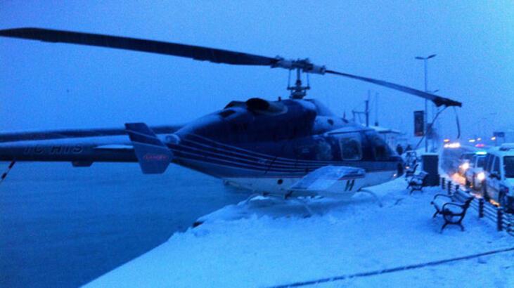 Mucize! Helikopter Sarıyer'de kaldırıma indi