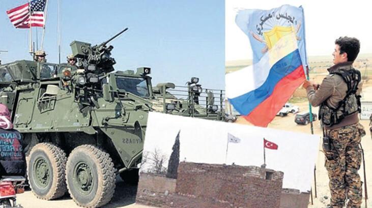 Münbiç'te bayrak savaşı! ABD, Rusya ve Türk bayrakları...