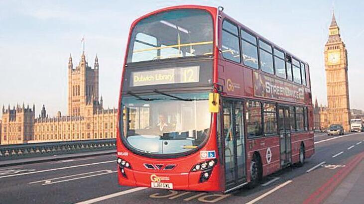 Londra'da kahveyle çalışan otobüsler