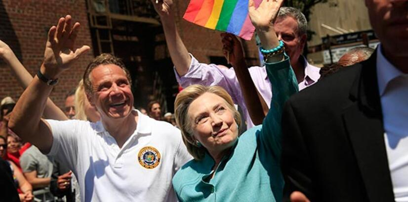 Clinton marches in NY pride parade