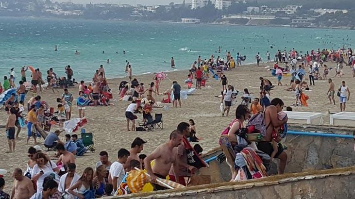 Plajda panik anları! Bir anda ortaya çıktı, herkes böyle kaçtı
