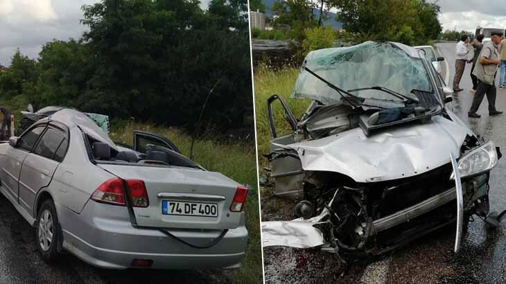 Zonguldak'ta feci kaza! Araç hurdaya döndü